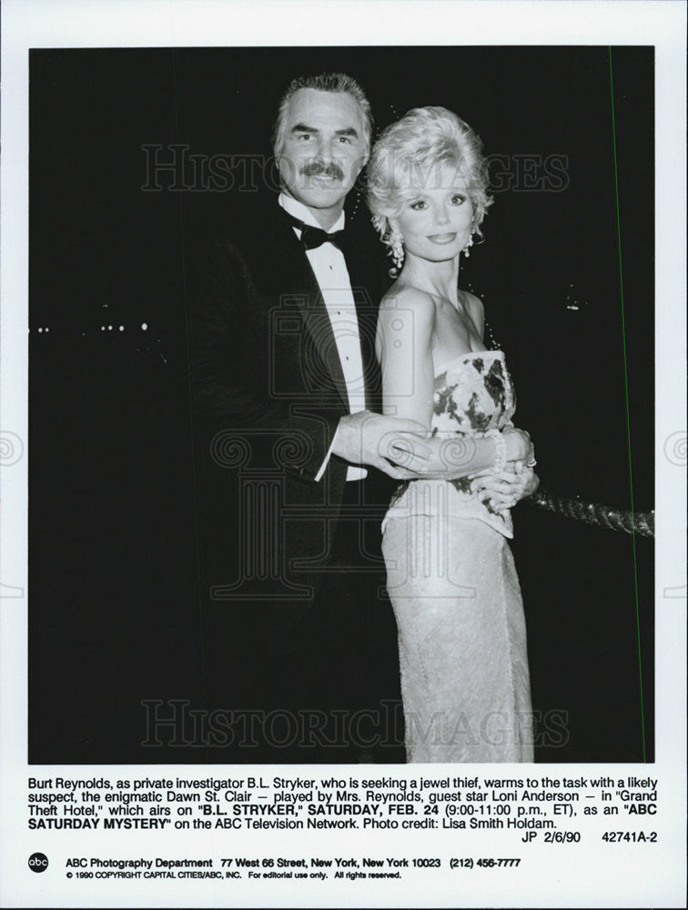 "1990 Press Photo Burt Reynolds & Loni Anderson in ""B.L. Stryker"" - Historic Images"