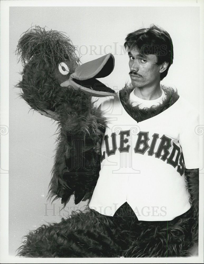 1983 Press Photo Marco Rodriguez Plays Bird the Mascot of Bay City Bluebirds - Historic Images