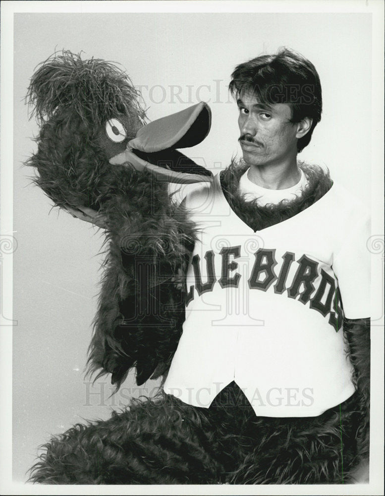 1983 Press Photo Actor Marco Rodriguez as Bird, Mascot of Bay City Bluebirds - Historic Images