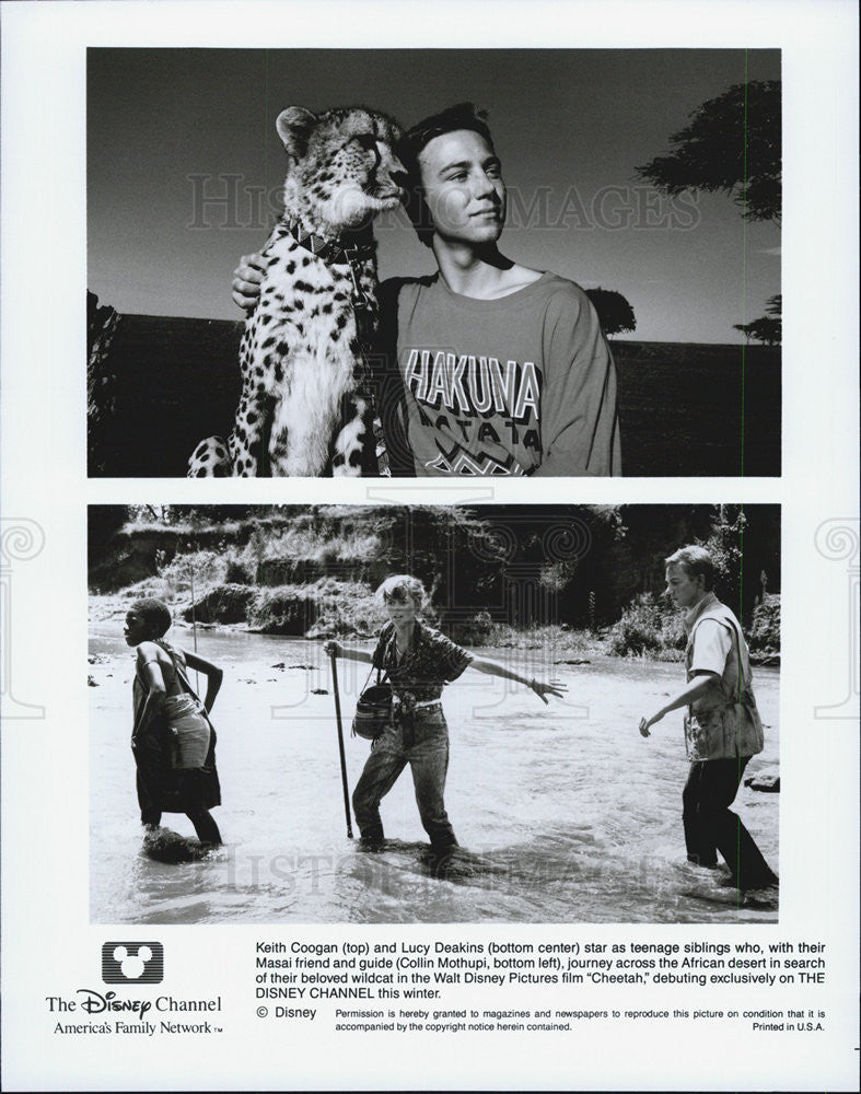 Press Photo Walt Disney Pictures Film Cheetah, Keith Coogan and Lucy Deakins - Historic Images