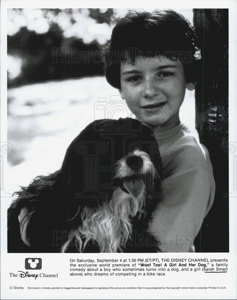 1991 Press Photo Disney Woof too! A Girl and her  Dog Sarah Smart - Historic Images