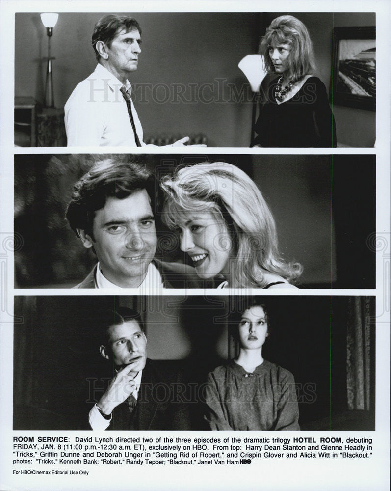 Press Photo Hotel Room, Harry Dean Stanton, Glenne Headly, Griffin Dunne - Historic Images