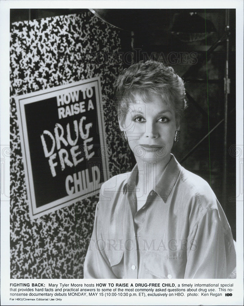 Press Photo Mary Tyler Moore, How to Raise a Drug-Free Child, HBO documentary - Historic Images