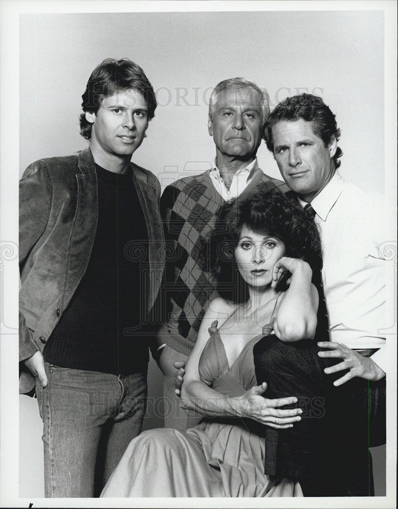 1984 Press Photo Cast of NBC TV Berrenger, Sam Wanamaker, Anita Morris - Historic Images