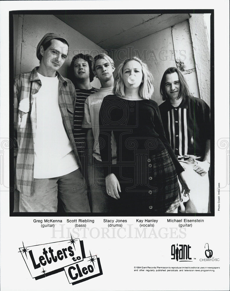 1995 Press Photo Singer Band Letters to Cleo - Historic Images