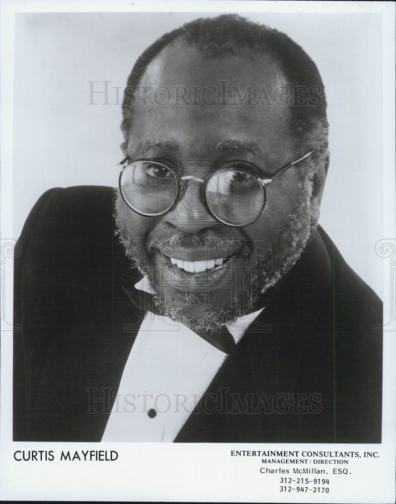 1989 Press Photo Pictured is musician Curtis Mayfield. - Historic Images