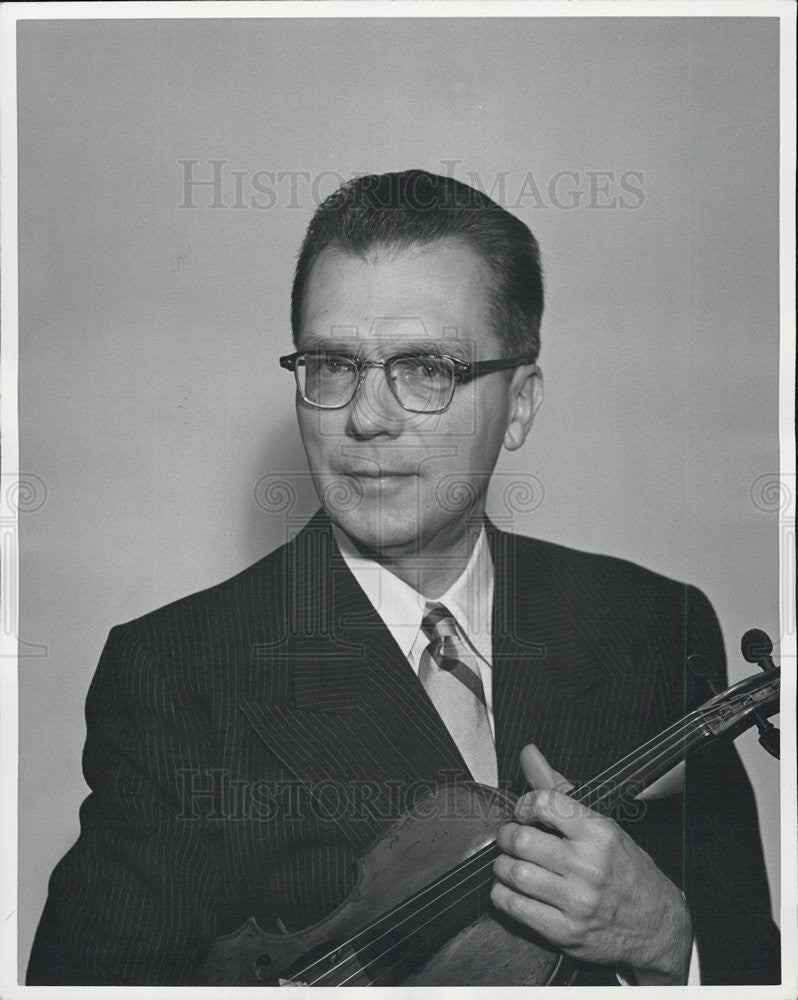 1957 Press Photo Violinist James Barrett Detroit Symphony Concertmaster - Historic Images