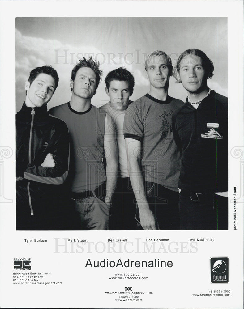 2001 Press Photo Audio Adrenaline Tyler Burkum Mark Stuart Ben Cissell Bob - Historic Images
