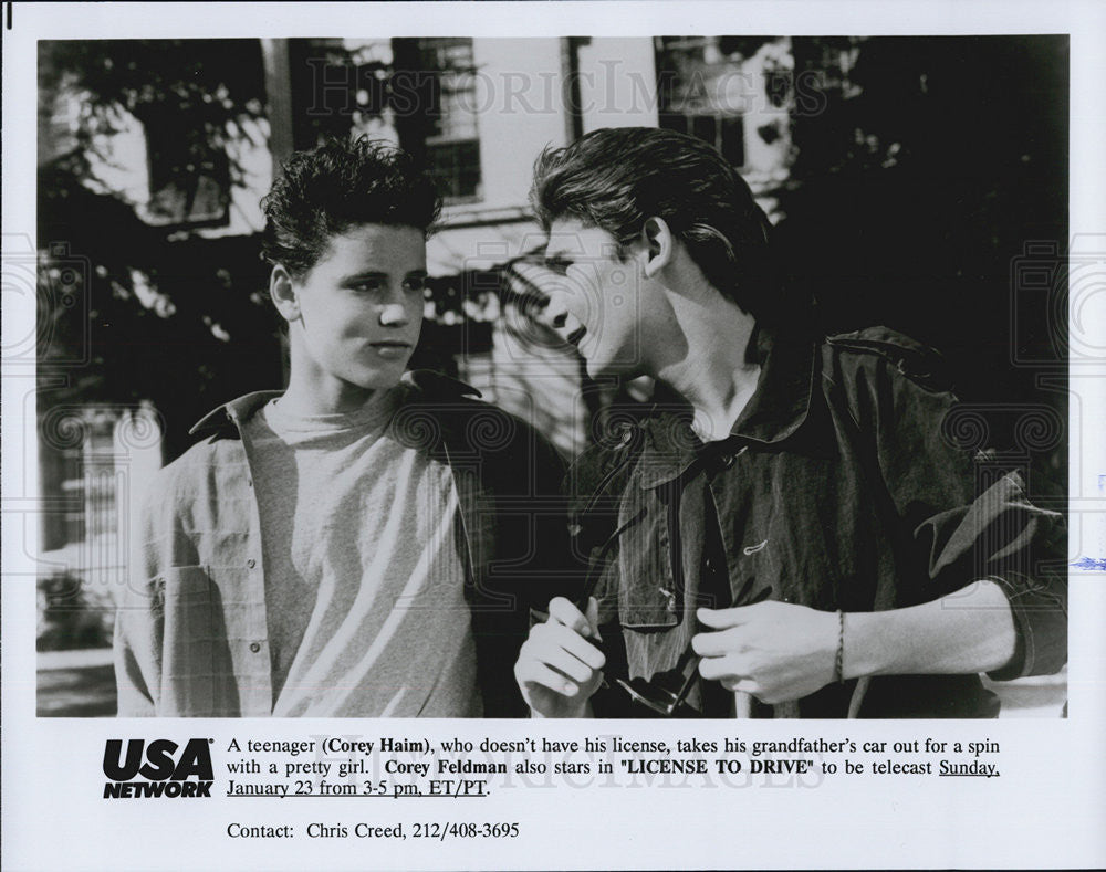 "1988 Press Photo Cory Haim and Cory Feldman in ""License to Drive"" - Historic Images"