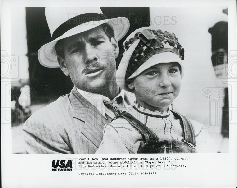 "1973 Press Photo Ryan O'Neal and daughter Tatum O'Neal star in ""Paper Moon"" - Historic Images"