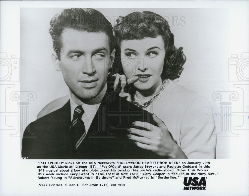 Press Photo Pot O' gold James Stewart Paulette goddard - Historic Images