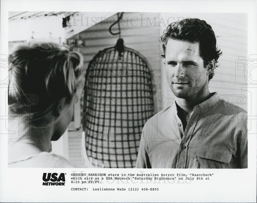 "1984 Press Photo Actor Gregory Harrison In Australian Horror Film ""Razorback"" - Historic Images"