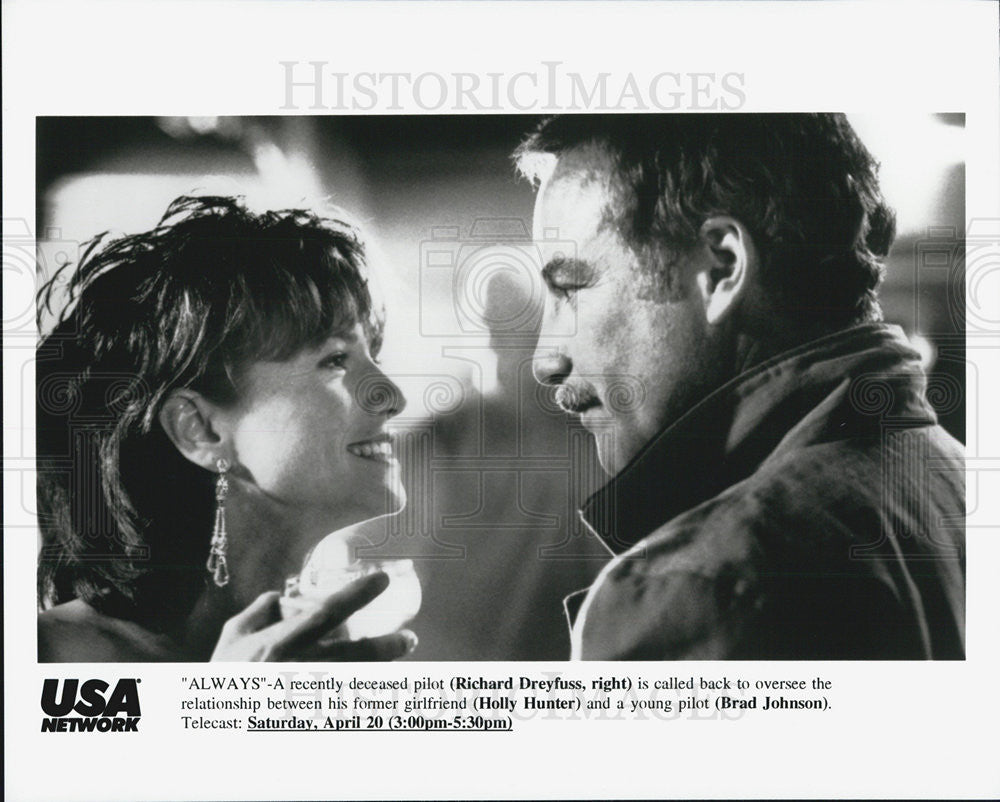 Press Photo Richard Dreyfuss And Holly Hunter In USA Network Premiere Of Always - Historic Images