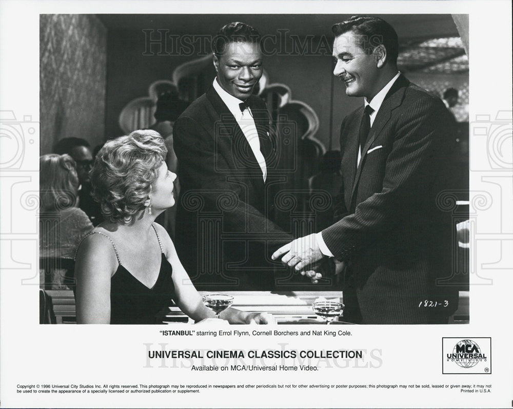 1996 Press Photo Errol Flynn Cornell Borchers Nat King Cole In Movie Istanbul - Historic Images