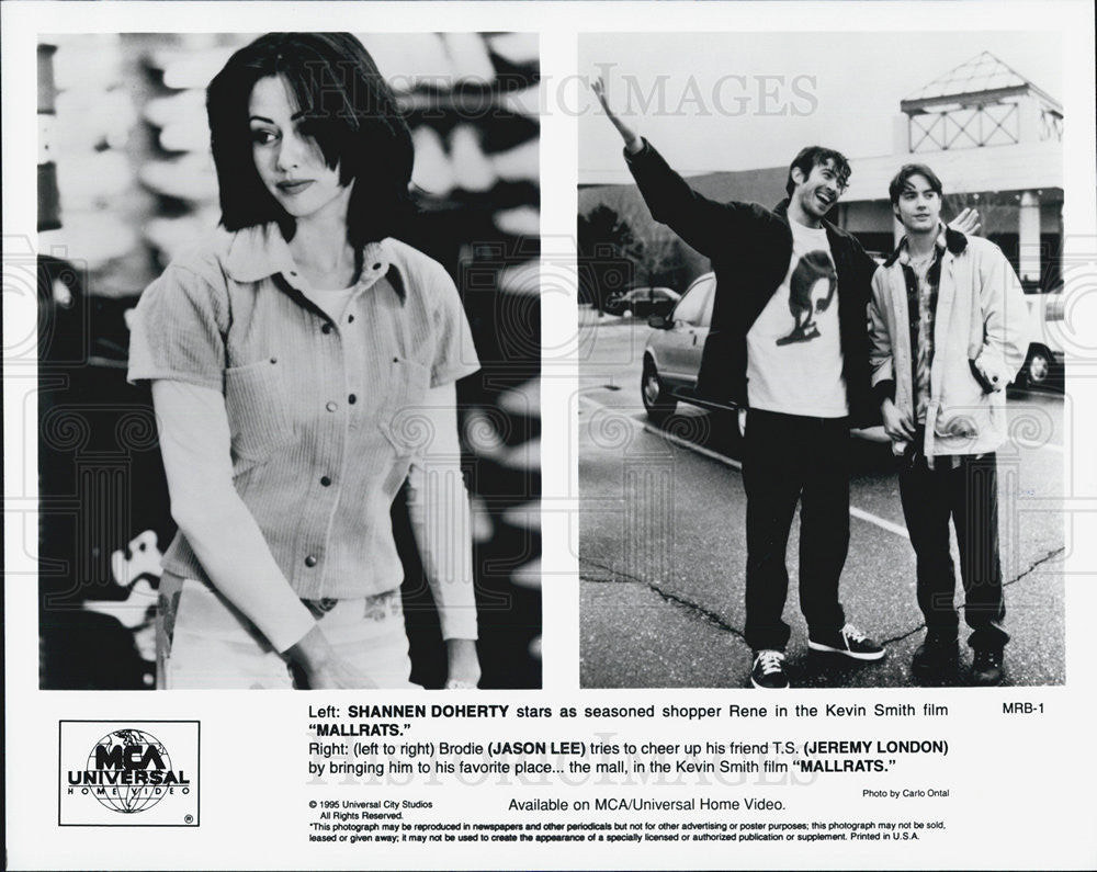 1995 Press Photo Shannen Doherty Jason Lee And Jeremy London In Movie Mallrats - Historic Images
