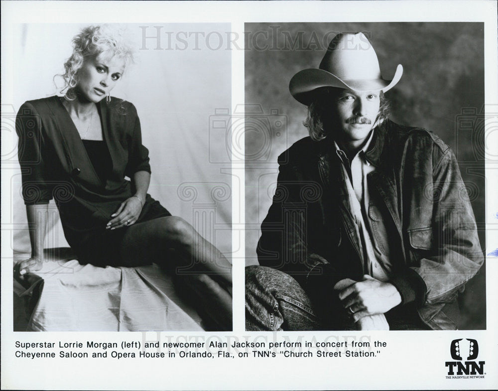 Press Photo Lorrie Morgan And Alan Jackson Perform On Show Church Street Station - Historic Images