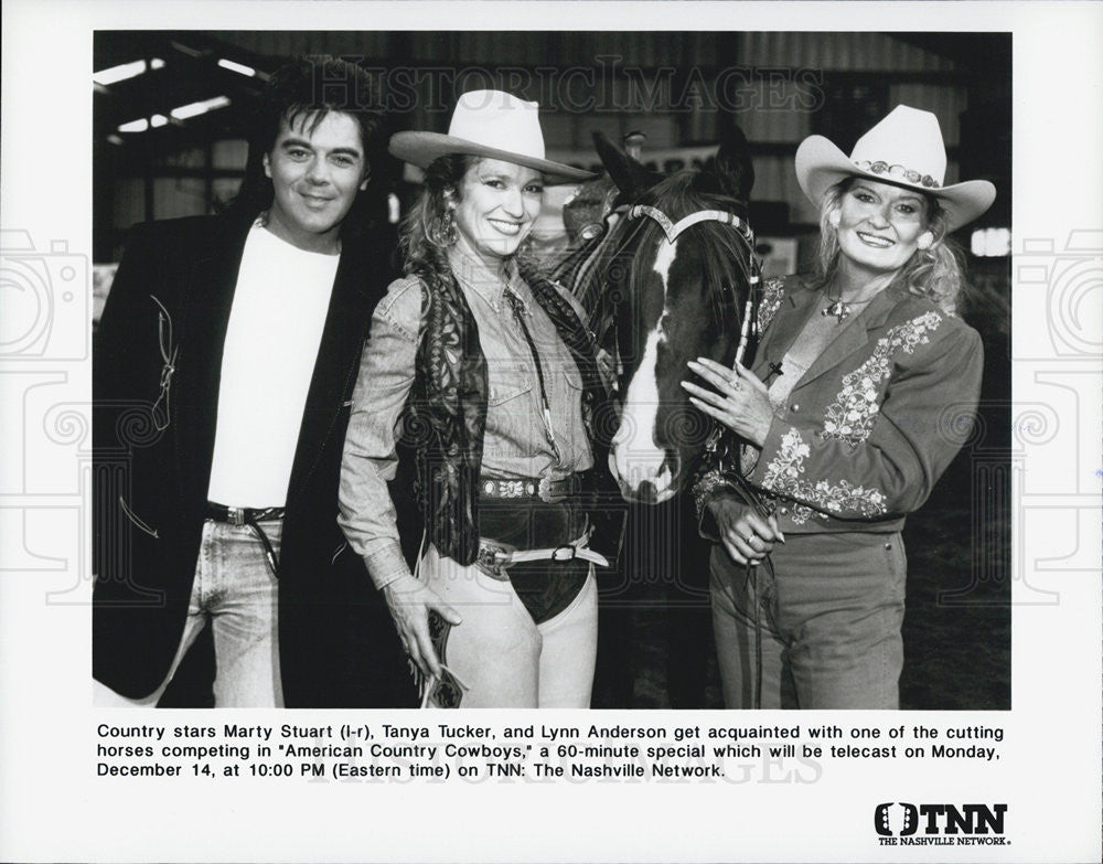 Press Photo Marty Stuart Tanya Tucker Lynn Anderson On American Country Cowboys - Historic Images