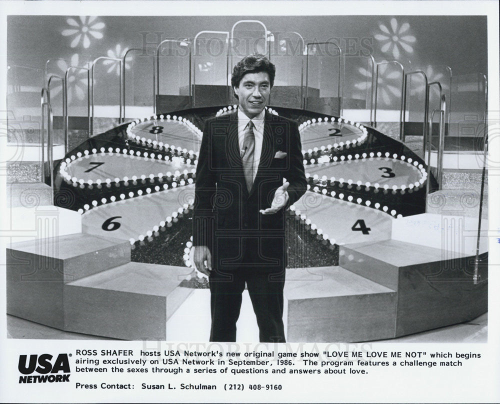 1986 Press Photo Ross Shafer Host Game Show Love Me Not USA Network - Historic Images