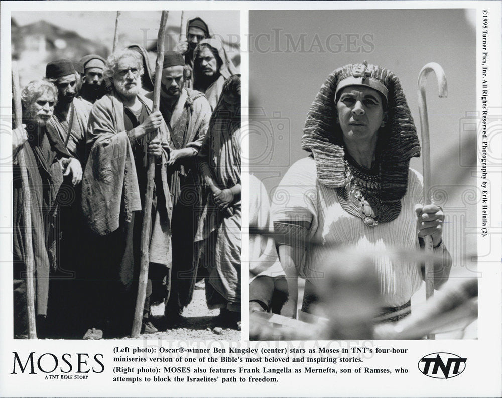 1995 Press Photo Ben Kingsley Actor Frank Langella Moses Bible Story Film Movie - Historic Images