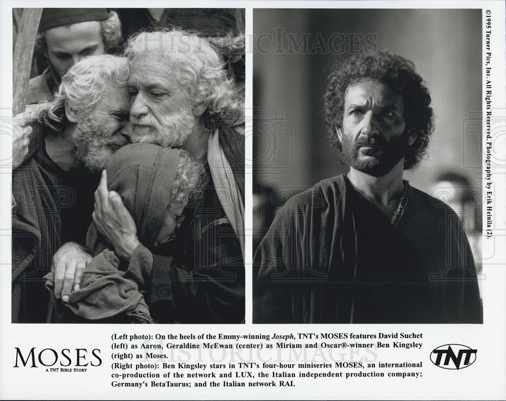 1995 Press Photo David Suchet Actor Geraldine McEwan Ben Kingsley Moses TNT - Historic Images