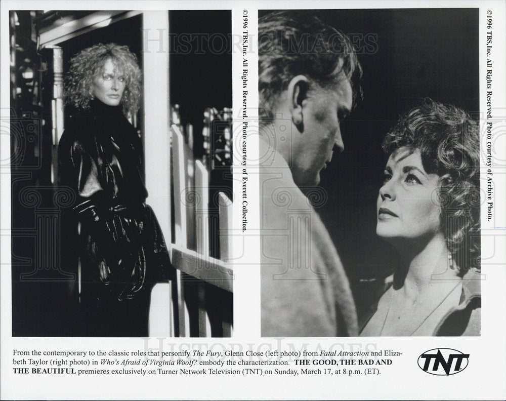 1996 Press Photo Glenn Close Actress Elizabeth Taylor Fury Fatal Attraction Film - Historic Images