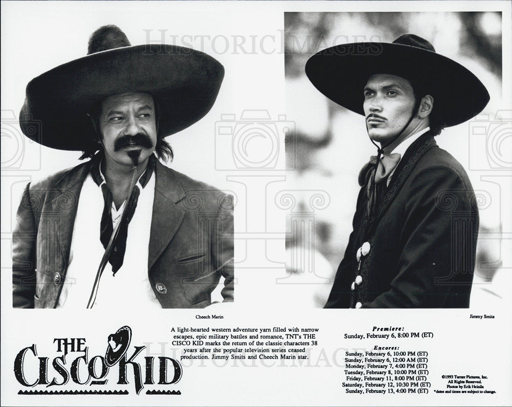 1993 Press Photo Actor Jimmy Smits and Cheech Marin in The Cisco Kid - Historic Images