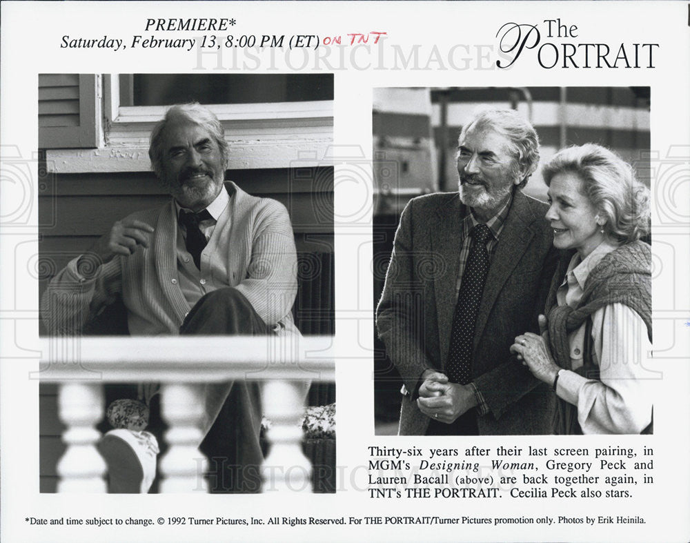"1993 Press Photo  Gregory Peck, Lauren Bacall star in The Portrait"" - Historic Images"