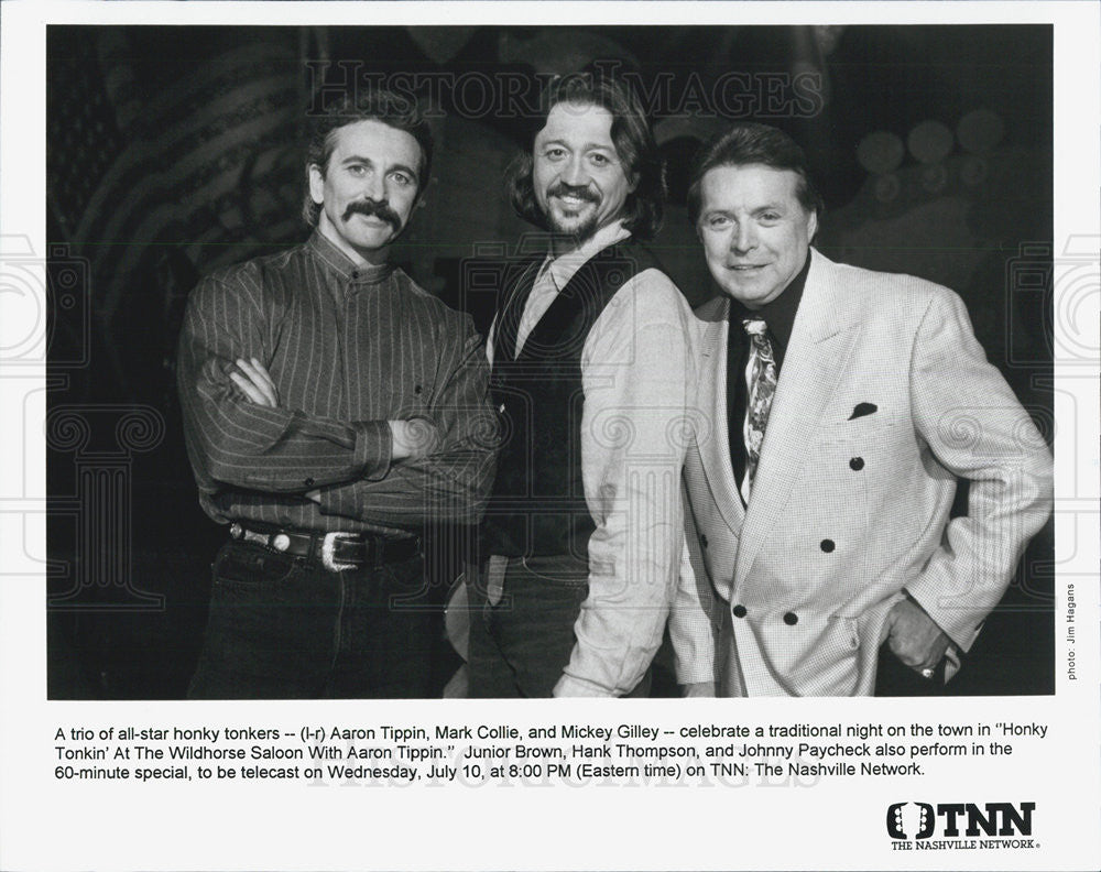 "Press Photo Aaron Tippen Mark Collie & Mickey Gilley ""Honky Tonkin Wildhorse"" - Historic Images"