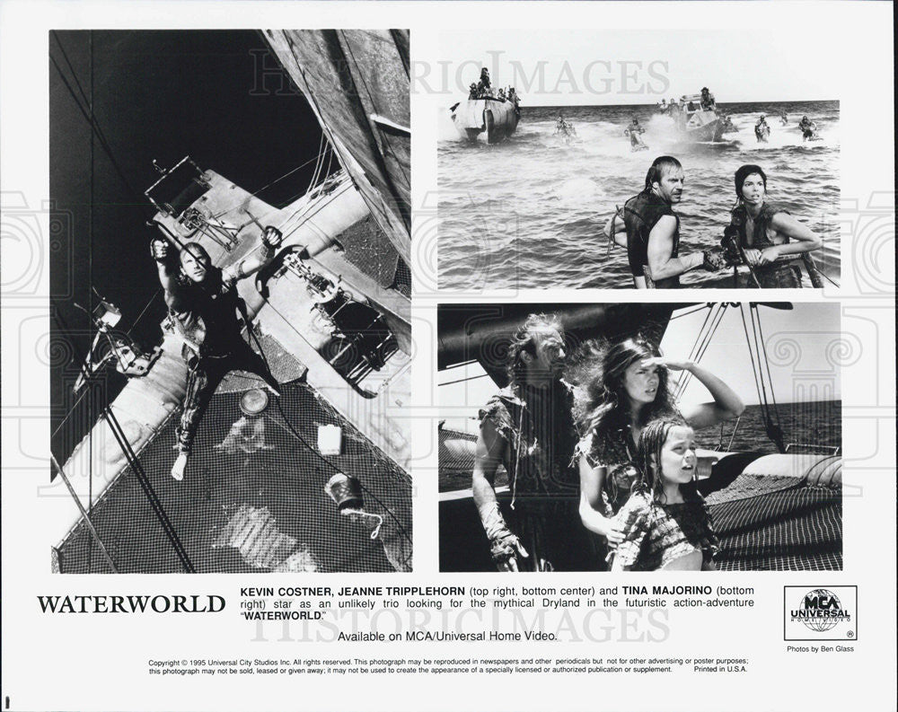 "1995 Press Photo ""Waterworld""  Kevin Costner Jeanne Tripplehorn Tina Majorino - Historic Images"