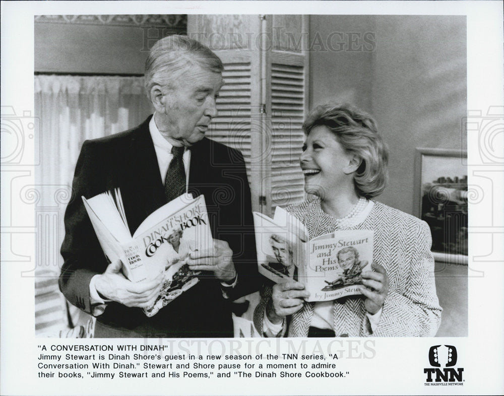 Press Photo Jimmy Stewart and Dinah Shore in TNN series Conversation with Dinah - Historic Images