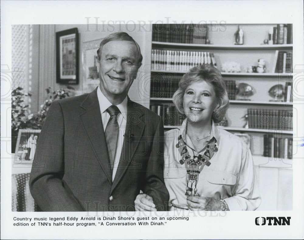 "Press Photo ""Conversation with Dinah Shore"" Musician Eddy Arnold TNN TV Guest - Historic Images"