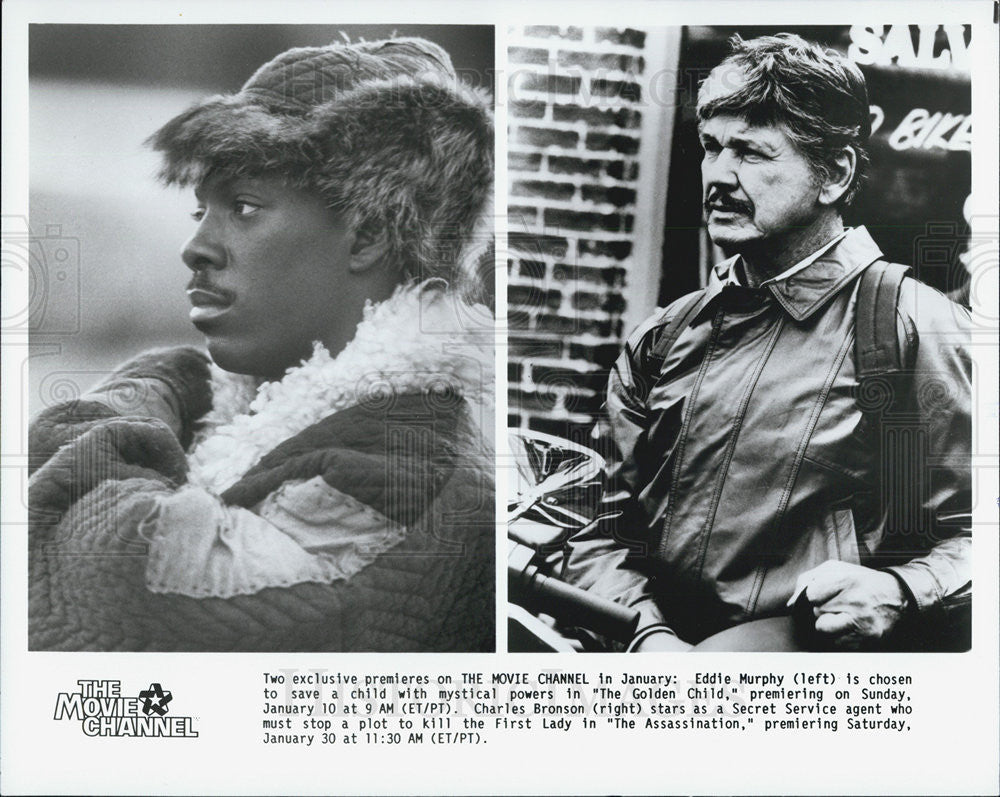 "Press Photo Eddie Murphy ""Golden Child"" Charles Bronson ""Assassination"" Actors - Historic Images"