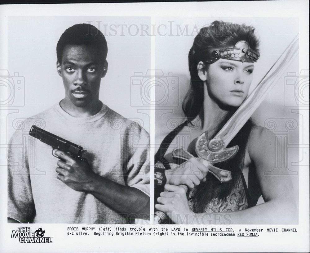 "Press Photo Eddie Murphy ""Beverly Hills Cop"" Brigitte Nielsen ""Red Sonja"" Actors - Historic Images"