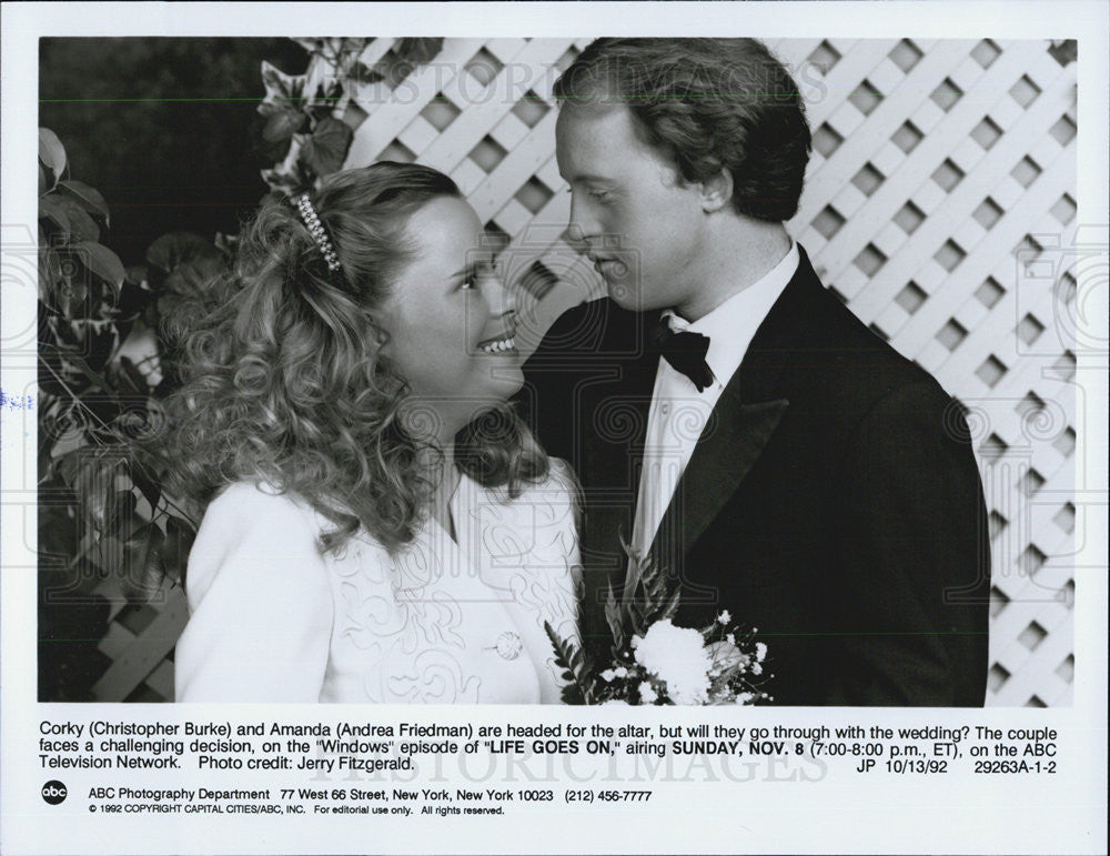 1992 Press Photo Actor Christopher Burke and Andrea Friedman in TV  Life Goes On - Historic Images