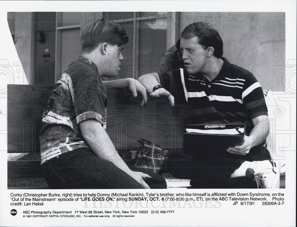 1991 Press Photo Actor Christopher Burke and Michael Rankin of Life Goes On - Historic Images