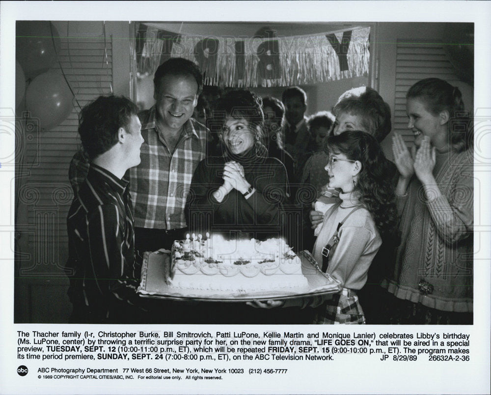 "1989 Press Photo Pictured is the Thacher family in the drama ""Life Goes On."" - Historic Images"
