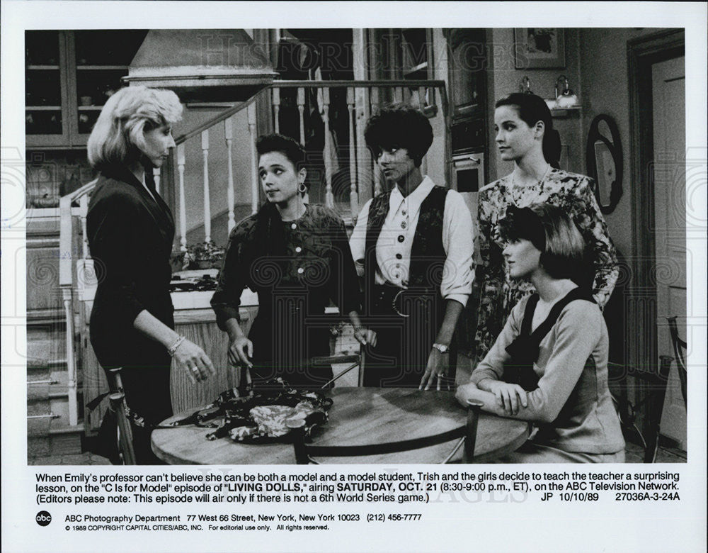 1989 Press Photo Cast of LIVING DOLLS - Historic Images