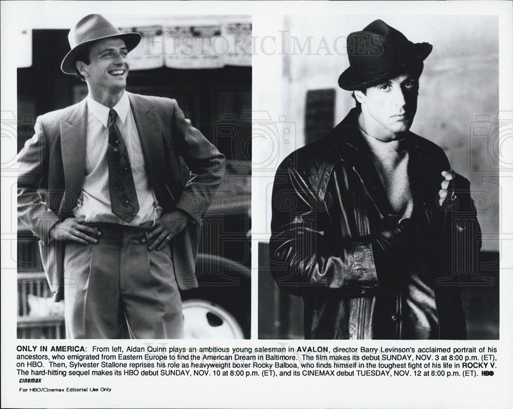 1990 Press Photo Aidan Quinn Avalon Sylvester Stallone Rocky V - Historic Images