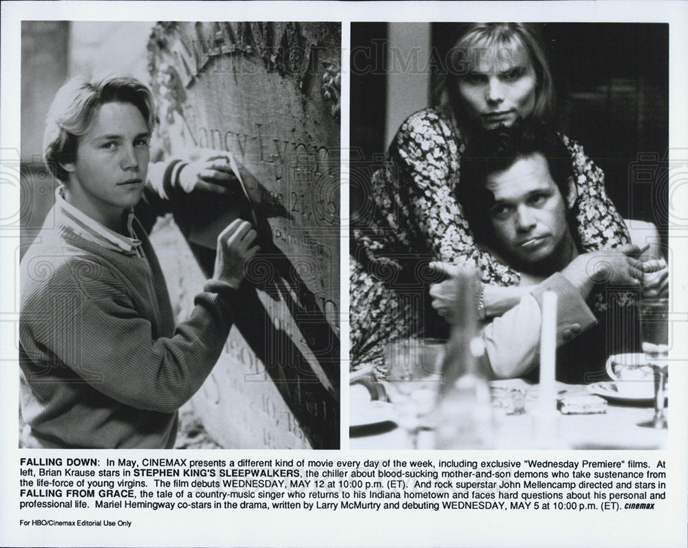 Press Photo Brian Krause SLEEPWALKERS John Mellencamp Mariel Hemingway - Historic Images