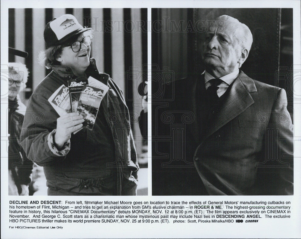 "Press Photo ""Roger & Me"" & ""Descending Angel"" - Historic Images"