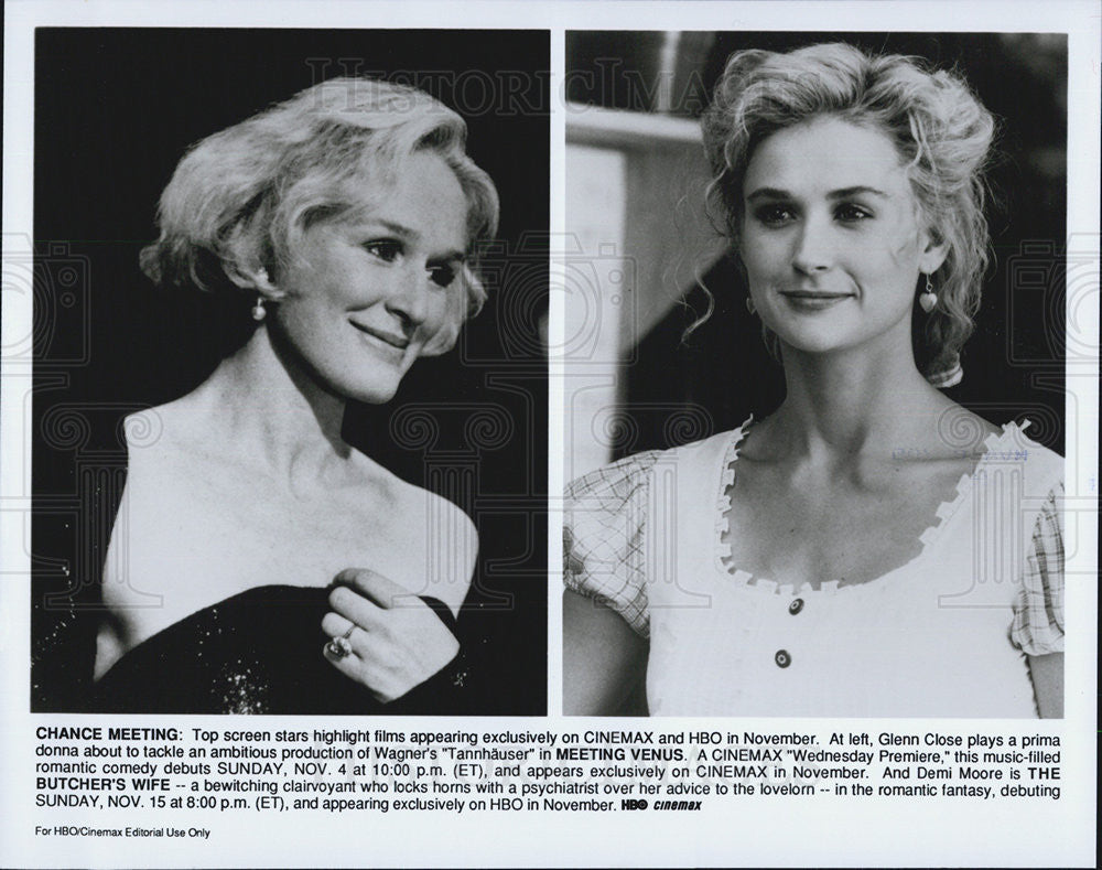1991 Press Photo Meeting Venus Glenn Close The Butcher's Wife Demi Moore - Historic Images