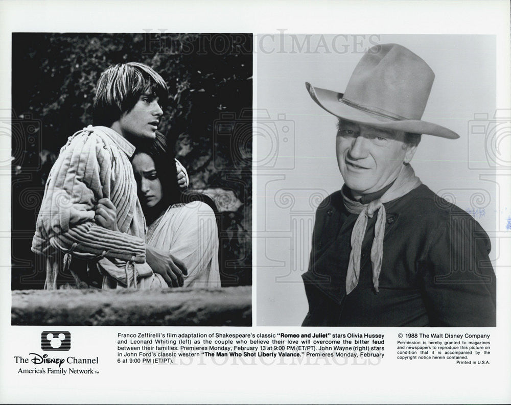 1988 Press Photo Romeo and Juliet Olivia Hussey Leonard Whiting The Man Who Shot - Historic Images