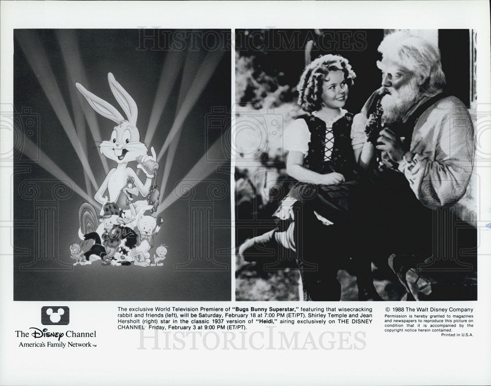 1988 Press Photo animation Bugs Bunny Superstar Heidi Shirley Temple Jean - Historic Images