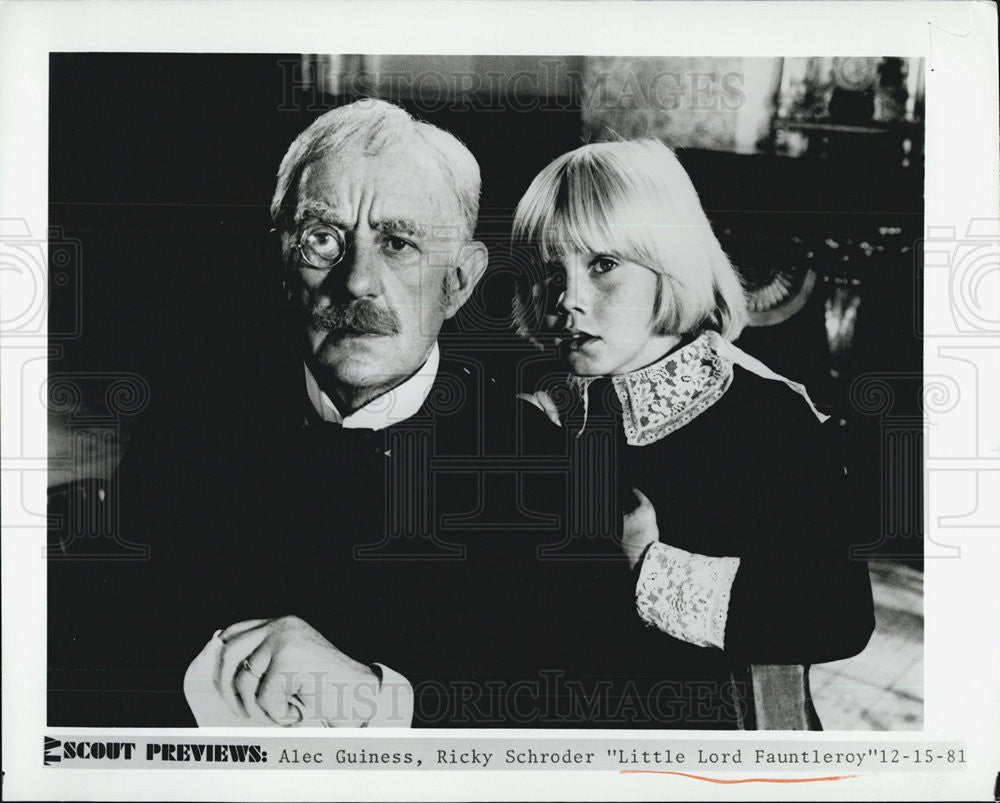 1981 Press Photo Alec Guiness Ricky Schroder LITTLE LORD FAUNTLEROY - Historic Images