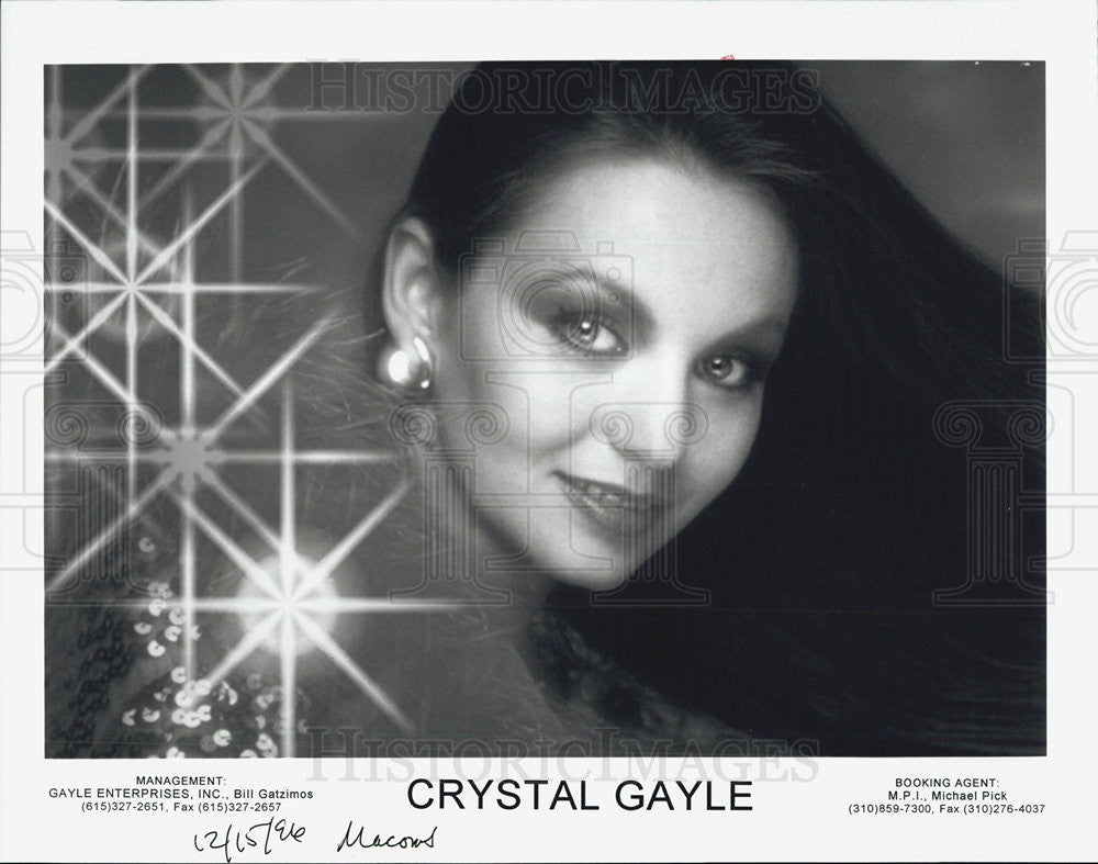 1996 Press Photo American Country Singer Crystal Gayle - Historic Images