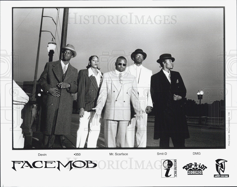 1996 Press Photo Facemob Band Musicians Devin 350 Mr. Scarface And Smit-D - Historic Images