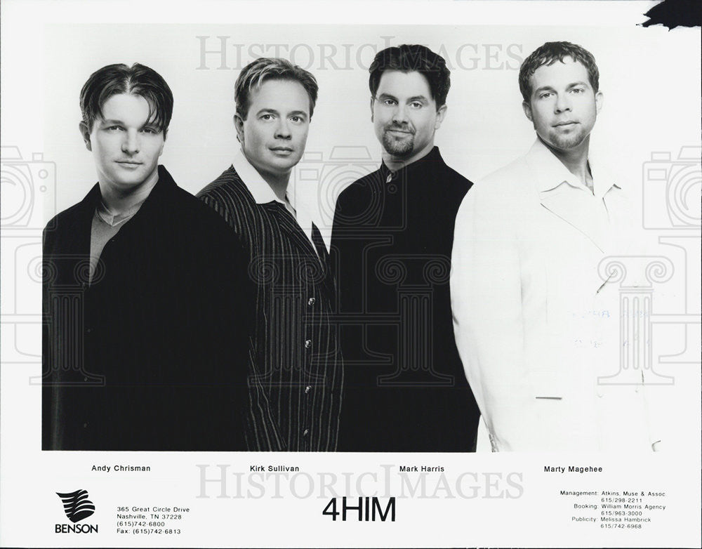 Press Photo 4HIM  Andy Chrisman Kirk Sullivan Mark Harris Marty Magehee - Historic Images