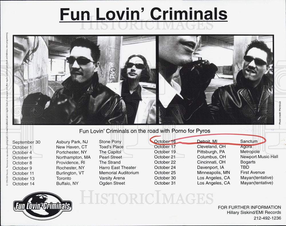 Press Photo fun lovin criminals tour Porno for pyros - Historic Images