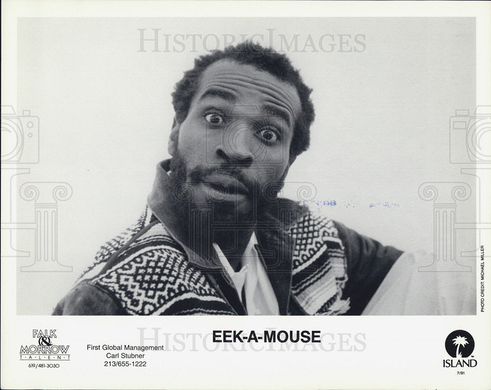 1991 Press Photo Eek-A-Mouse Jamaican Reggae Musician For Island Records - Historic Images