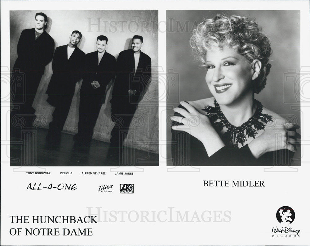 Press Photo Bette Midler And All-4-One On The Hunchback Of Notre Dame Soundtrack - Historic Images